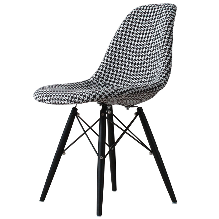 Eames Dsw Monotone Organiccotton Houndstooth Check White Black Shell Chair Dining Chairs Completed Taking Generic