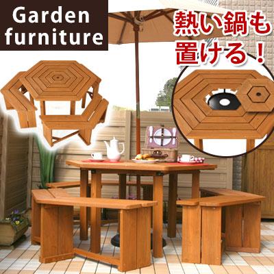 テーブル アウトドア 木製 ガーデンファニチャー ガーデンテーブル ベンチチェアー イス 椅子 天然木 庭 ガーデニング 屋外 送料無料 おしゃれ 机