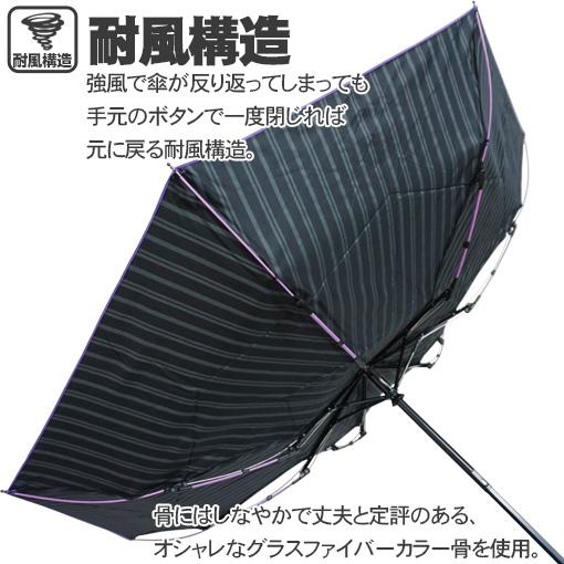 rainbowcharm ワンタッチ自動開閉折りたたみ傘 メンズ 耐風 晴雨兼用 強力撥水 ストライプ 7本骨 55cm