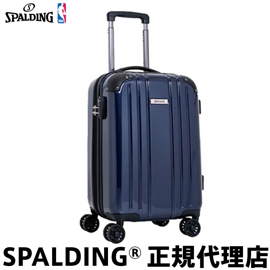 期間限定プレゼント付(500円分) 機内持ち込み可 キャリーケース スーツケースSサイズ 36L 1泊 2泊 旅行カバンマチ拡張 ファスナー式SPALDING スポルディングダブルホイールキャリー ネイビー