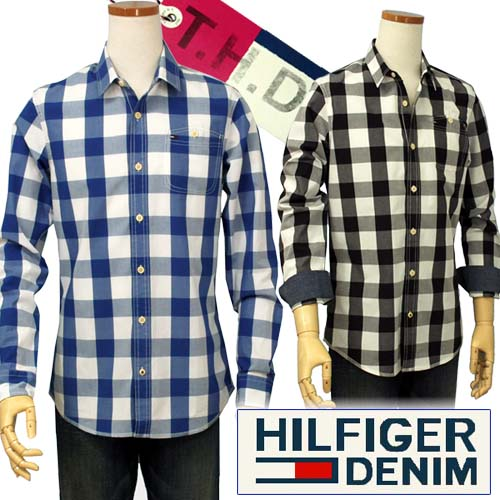 【全商品10%OFFクーポン】HILFIGER DENIM Tommy Hilfiger ネート、ブロック柄 ポケット付 長袖シャツ【トミーヒルフィガー】【SLIM FIT】【送料無料】
