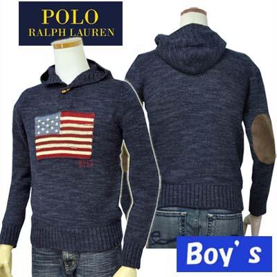 【全商品10%OFFクーポン】POLO by Ralph Lauren Boy'sUSAフラッグ フード付コットンセーター【ラルフローレン ボーイズ】