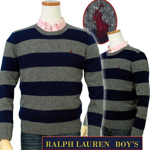 【全商品10%OFFクーポン】POLO Ralph Lauren Boy'sボーダー カシミヤ混 クルーネックセーター【2016-Fall/NewModel】【ラルフローレン ボーイズ】