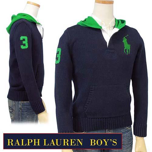 【全商品10%OFFクーポン】POLO Ralph Lauren Boy'sビッグポニー フード付セーター【ラルフローレン ボーイズ】