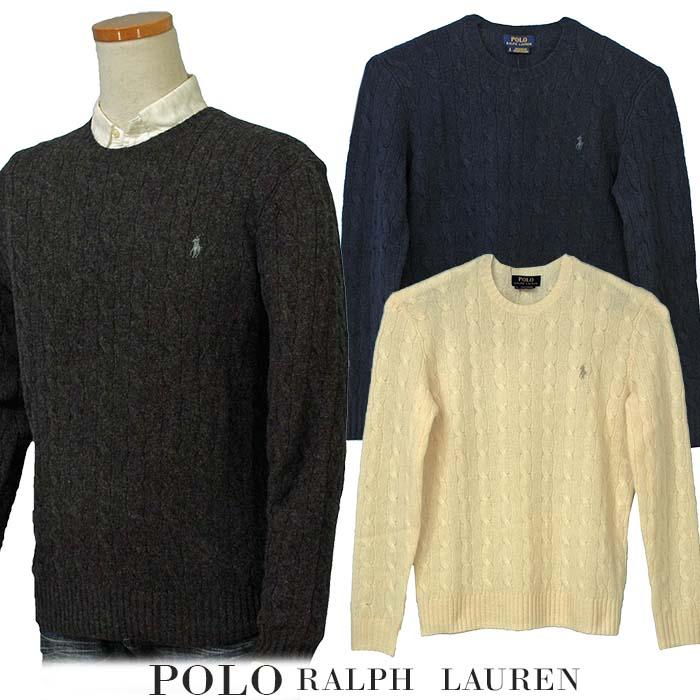 【全商品10%OFFクーポン】POLO by Ralph Lauren Men'sカシミヤ混 ケーブル ウールセーターXL,大きいサイズ ラルフローレン セーター【2017-Fall/NewColor】【送料無料】