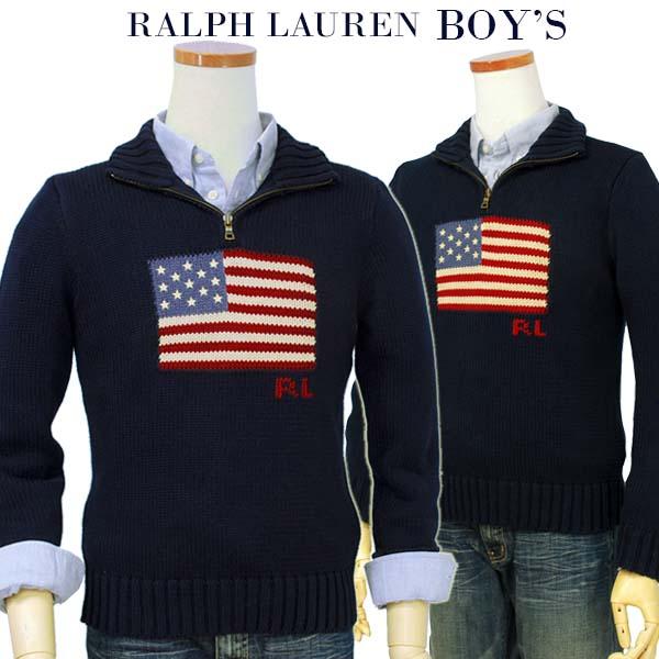 【全商品10%OFFクーポン】POLO by Ralph Lauren Boy'sUSAフラッグ コットンハーフジップセーター【2015-Fall/NewModel】【ラルフローレン ボーイズ】 【送料無料】