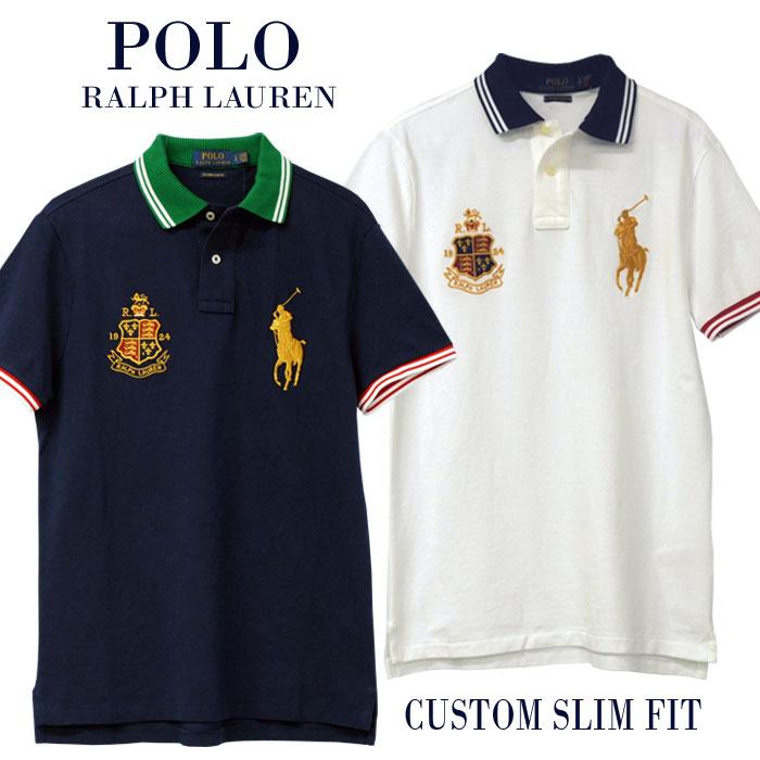 【全商品10%OFFクーポン】POLO Ralph Lauren Men'sゴールドビッグポニー半袖鹿の子ポロシャツ【2019-Spring/NewColor】カスタムスリムフィットXL,大きいサイズ【送料無料】