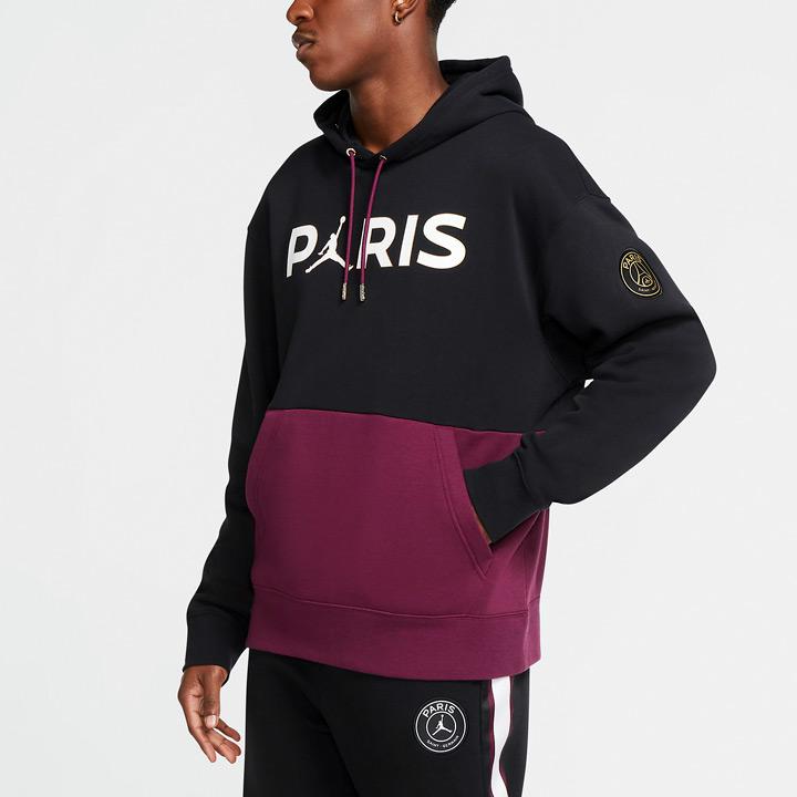 送料無料 正規販売店 ジョーダン×PSGのコラボフーディー Nike Jordan x Paris モデル着用&注目アイテム Saint-Germain PSG CK9773-010 プルオーバーパーカー × ジョーダン ナイキ ブラック×ボルドー パリサンジェルマン