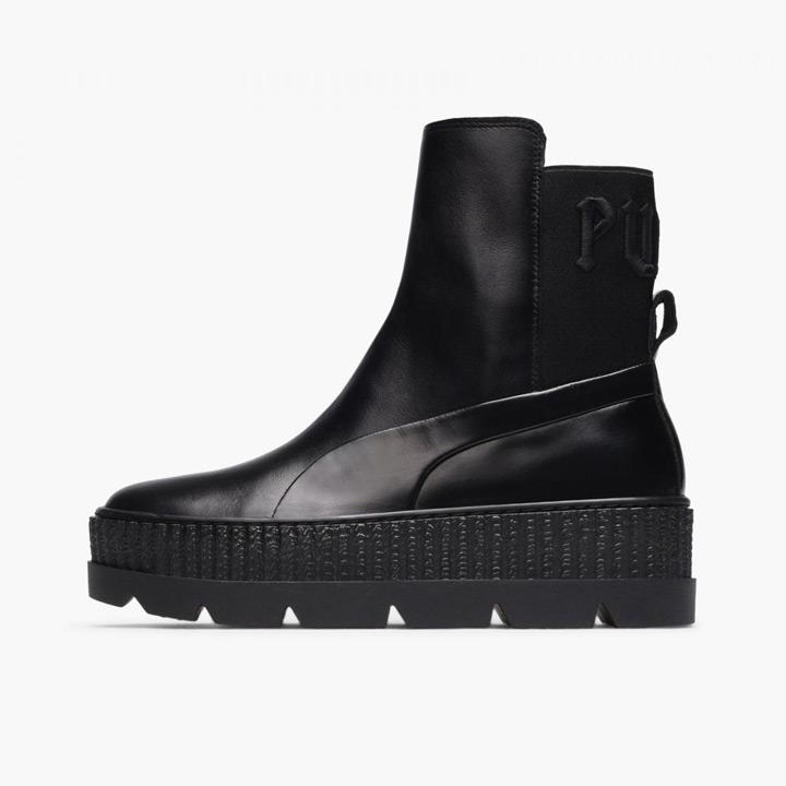 レディース22cm~26cm FENTY 即納 PUMA by Rihanna 業界No.1 フェンティ プーマ バイ ブラック レザー Sneaker Boot Chelsea リアーナ スニーカーブーツ 366266-03