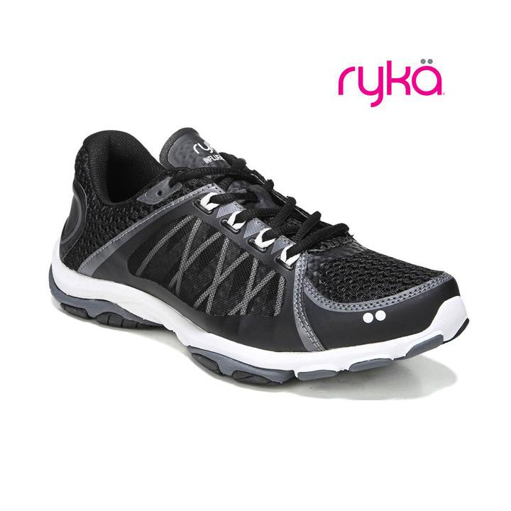メーカー在庫限り品 送料無料 ダンス エクササイズ フィットネスに最適シューズ RYKA OUTLET SALE ライカ インフルエンス フィットネスシューズ 2.5 ブラック×グレー INFLUENCE