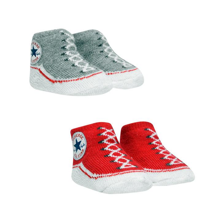 可愛いスニーカー柄ソックス2足組 市場 CONVERSE コンバース ベビーソックス 赤ちゃん靴下 2足セット オンラインショッピング レッドグレー 0-6ヶ月