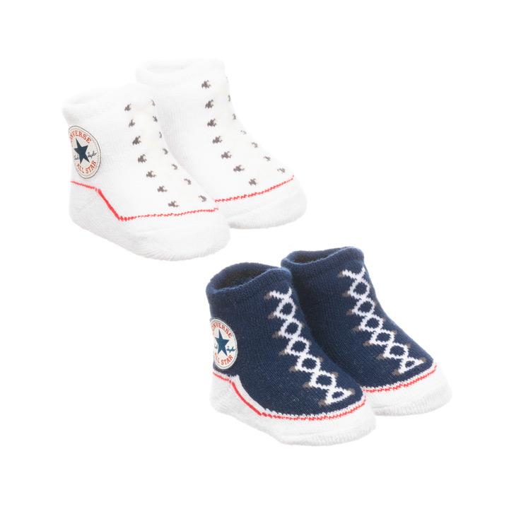 可愛いスニーカー柄ソックス2足組 CONVERSE コンバース ブランド激安セール会場 ベビーソックス 0-6ヶ月 毎日激安特売で 営業中です ネイビーホワイト 赤ちゃん靴下 2足セット
