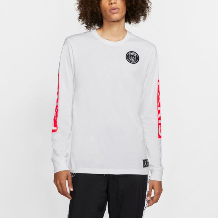 送料無料 全商品オープニング価格 ジョーダン×PSGのコラボロンT 爆買い新作 Nike Jordan x Paris Saint-Germain PSG ホワイト ナイキ × ジョーダン ロングスリーブTシャツ BQ8382-100 長袖 パリサンジェルマン