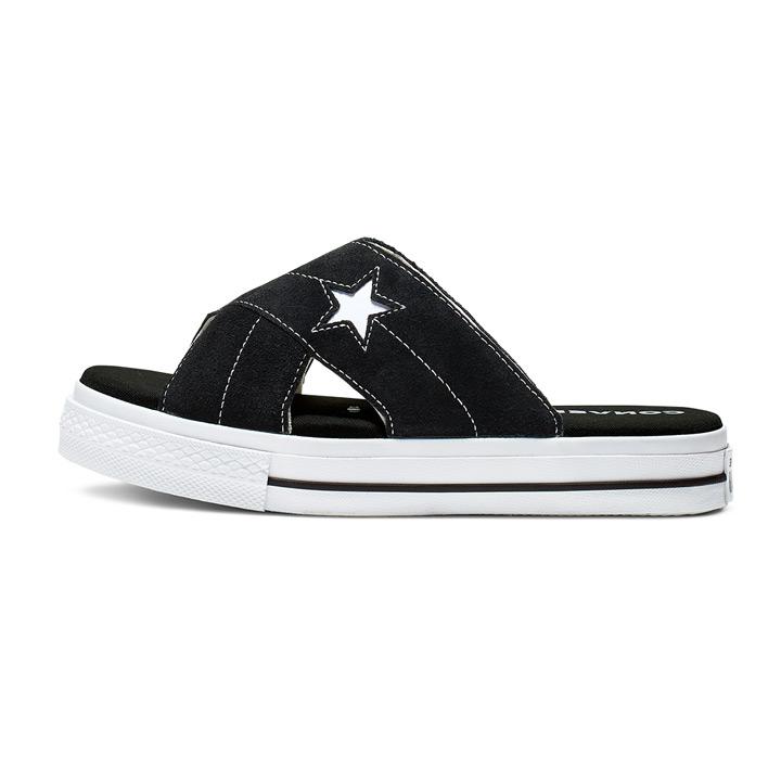 送料無料 レディースサイズ CONVERSE コンバース いつでも送料無料 サンダル One Star 564143C ワンスター ギフ_包装 Slip スエード Sandal ブラック