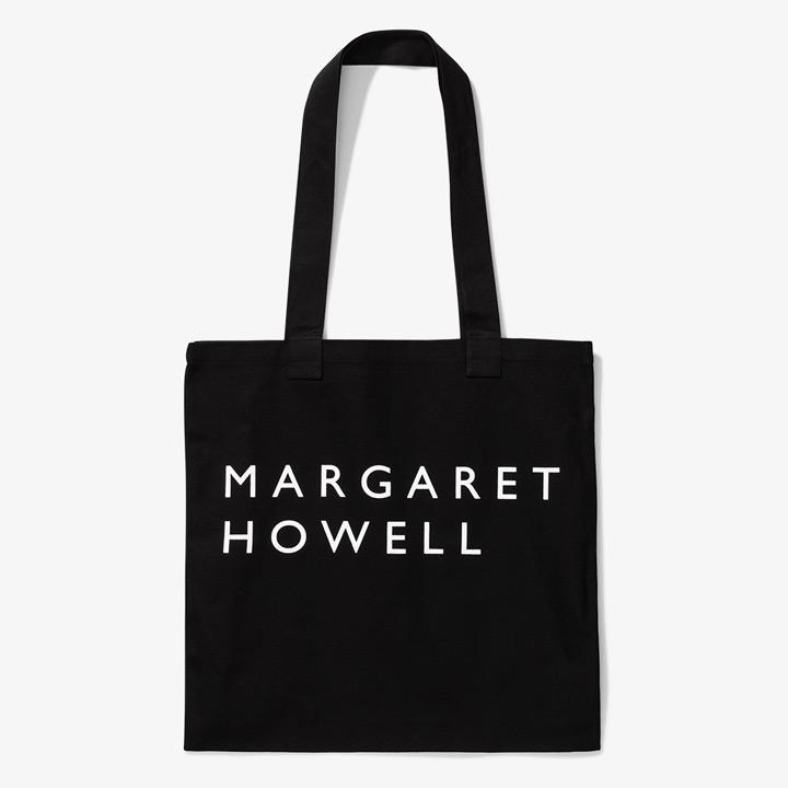送料無料 デイリーに使えるロゴトート MARGARET HOWELL MHL. 別倉庫からの配送 マーガレットハウエル ブラック セール特別価格 COTTON BAG LOGO ロゴトートバッグ DRILL