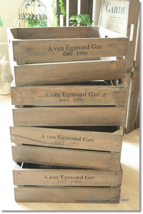 アンティーク風 雑貨 J.W.ボックスC アンティーク風木箱 巾40×奥行32×高さ15cm 4個セット
