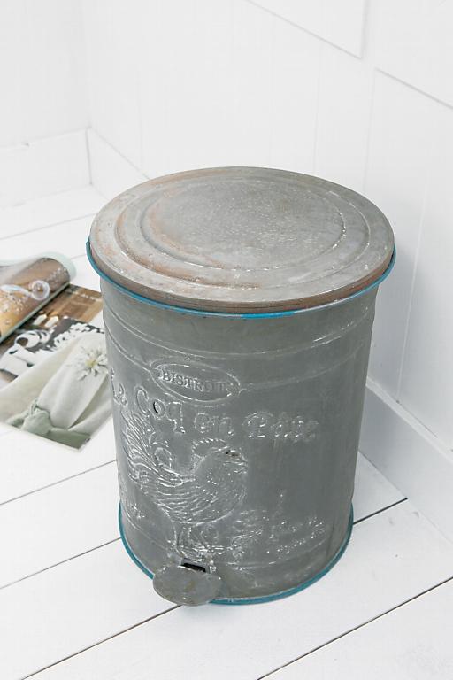 アンティーク風 雑貨 ブリキ缶 ゴミ箱 アンティーク 蓋つき シャビーブリキ缶 コベントガーデン
