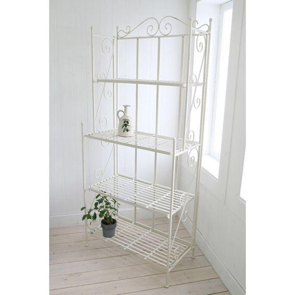 プランターラック 白 4ティアシェルフ 巾65×奥行35×高さ148cm 折り畳み式