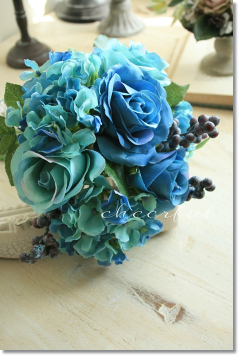 アンティーク風 雑貨 おしゃれ 造花 舗 ブーケ バラ インテリア ブルーローズブーケ 即日出荷 薔薇 フェイクグリーン 観葉植物