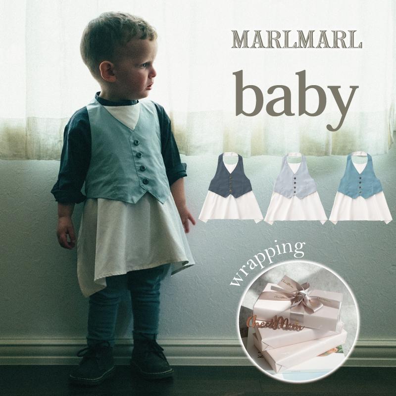 ベビー 赤ちゃん おしゃれ ロング Baby NEWカラー マールマール MARLMARL エプロン ギャルソン 男の子 sage ギフト Garcon laurel navy 3カラー 0歳~3歳 フォーマル お食事エプロン AL完売しました。 プレゼント 売店