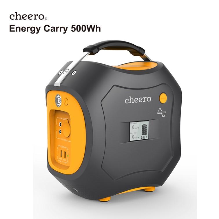 【PSEマーク付】 超大容量 チーロ モバイルバッテリー cheero Energy Carry 500Wh 災害 停電 緊急時 防災 アウトドア 電源 USB・AC・DC 出力口 LEDライト付 電気用品安全法