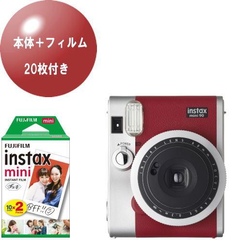 (フィルム20枚セット)富士フイルム チェキ instax mini90 ネオクラシック レッド+フィルム20枚付
