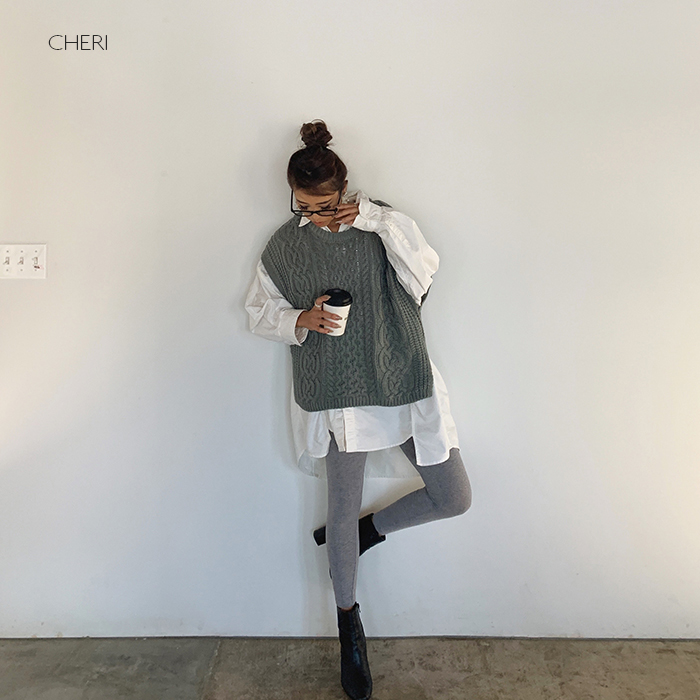 CHERI 再販ご予約限定送料無料 セール特別価格 ケーブルニットベスト 新作 送料無料 ママファッション 秋 カジュアル レディース