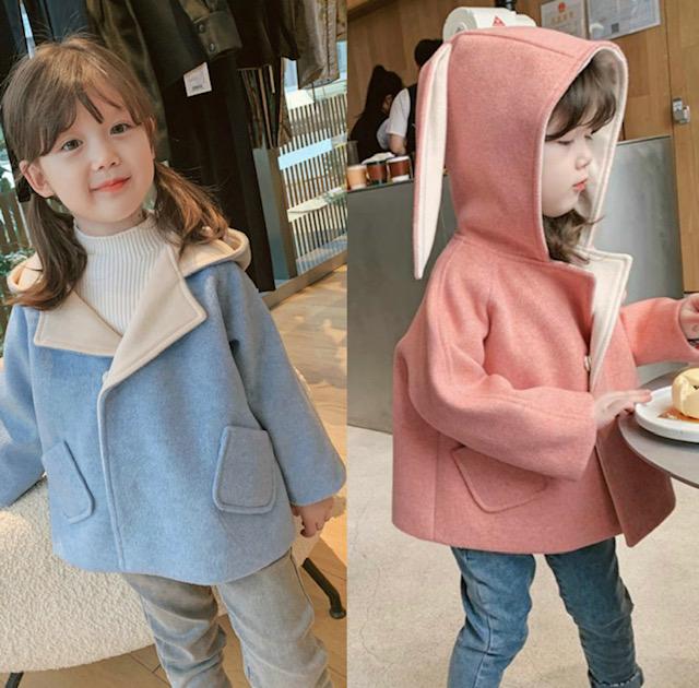 たらんと長い耳フードが可愛くてたまらない キッズコート 定価 うさぎ耳 フード 女の子 こども服 アウター ピンク ブルー 上着 100 羽織 120 130 110 90 ジャケット 迅速な対応で商品をお届け致します