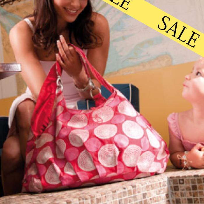 人気商品 ドイツ生まれのマザーズバッグlaessig/レッシグ バッグが2つ付いてくる ゴールドショルダーバッグ 100%無害・無汚染素材 ママバッグ(レッド)
