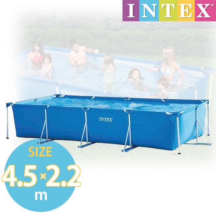 プール フレームプール 空気入不要 【4.5m×2.2m×84cm ビニールプール】スーパータフ仕様 INTEX インテックス 長方形 水あそび 450 × 220 × 84cm