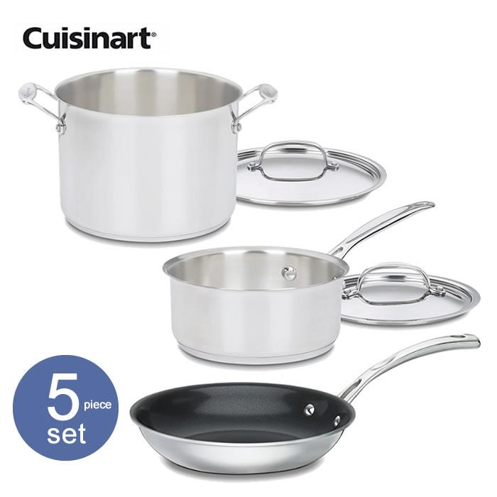 【送料無料☆】Cuisinart Chef's Classic Stainless クイジナート シェフズ クラシック クックウェア5PC 鍋セット(ストックポット 片手鍋 フライパン
