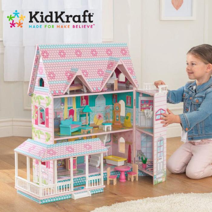 ドールハウス 家具付 キッドクラフト アビーマナードールハウス 木製ドールハウスセット 2階+屋根裏部屋付 おままごと KIDKRAFTお人形遊び にぴったり