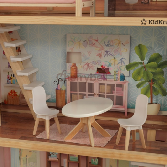 Furniture Kidkraft Kid Craft アメリアドールハウス Wooden Dollhouse Set Amelia Doll House 2 Floors Attic Room With