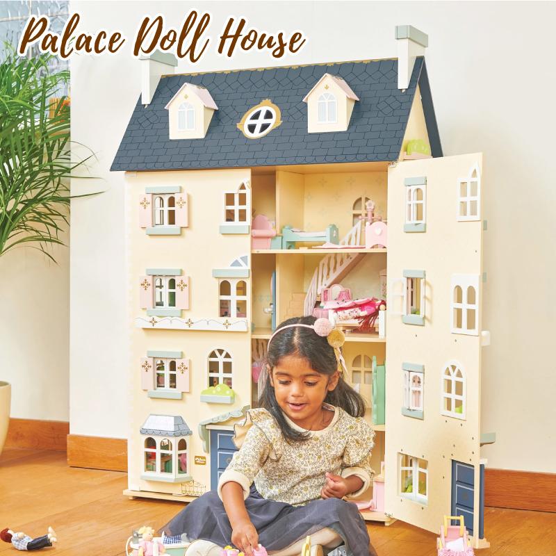 ドールハウス 木製 大型 4階建て +屋根裏付き おもちゃ 木のおもちゃ 飾り インテリア ごっこ遊び 知育玩具 おもちゃ パレスハウス 3才 誕生日プレゼント 女の子 男の子 レトイバン