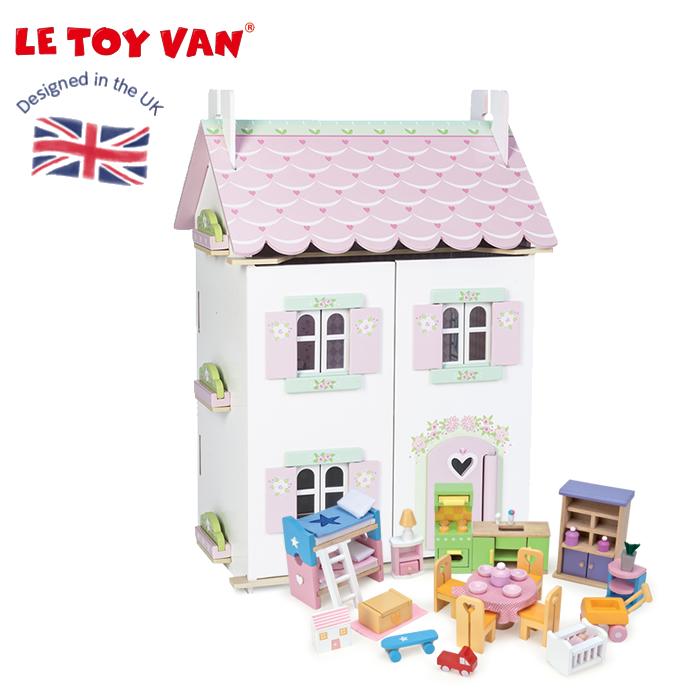 ドールハウス お人形ごっこ ミニチュアハウス 木製 ペイント 二階建 ごっこ遊び おもちゃ レトイバン Le Toy Van レ・トイ・バン スイートハートコテージ ミニドールハウス