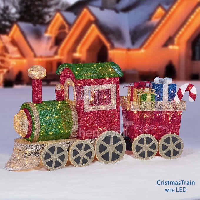 【スーパーSALE10%OFF】美しい!珍しい1.7MのLED プレゼント トレイン オブジェ クリスマス LEDライト イルミネーション 100V 日本仕様 PSE取得済み