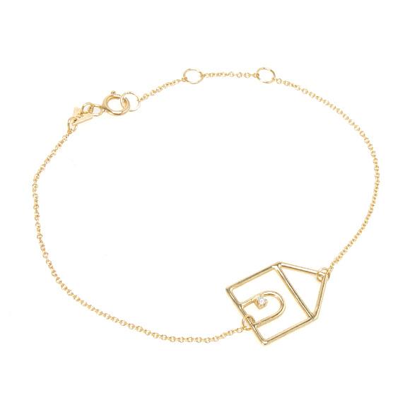 アリータ ALIITA ブレスレット イエローゴールド CHAIN BRACELET CASITA BRILLANTE 9KT YELLOW GOLD DIAMOND 家モチーフ