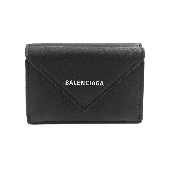 バレンシアガ BALENCIAGA 財布 ミニ財布 レディース 三つ折り財布 ブラック PAPIER MINI WALLET 391446 DLQ0N 1000 BLACK【ミニ財布】