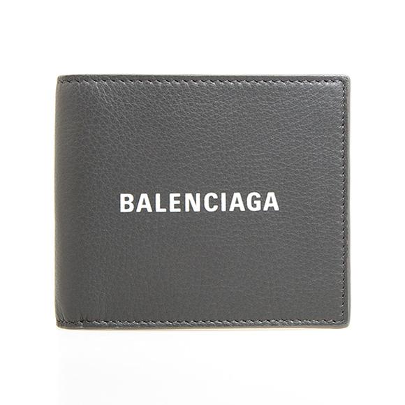 バレンシアガ BALENCIAGA 財布 メンズ 二つ折り財布 ダークグレー EVERYDAY L SQUARE WALLET 485108 DLQHN 1160 DARK GREY/ L WHITE