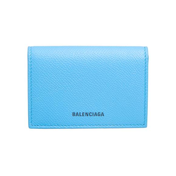 バレンシアガ BALENCIAGA 財布 レディース 三つ折り財布 ベビーブルー VILLE MINI WALLET 558208 0OTG3 4870 BABYBLUE/L BLACK