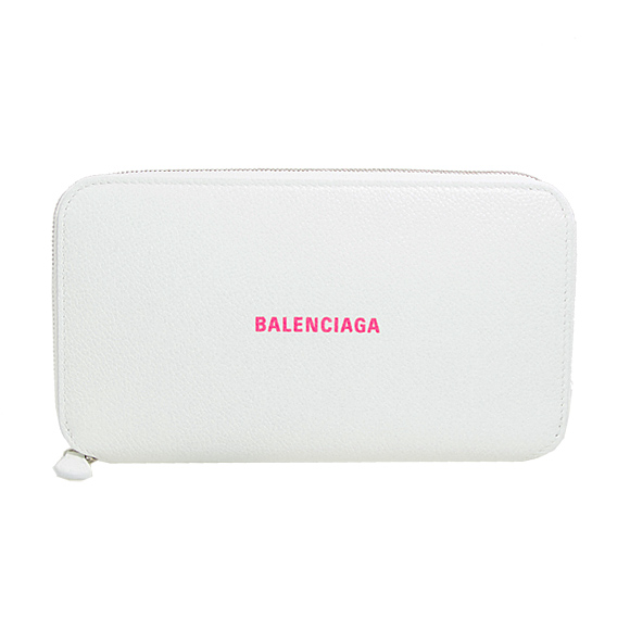 バレンシアガ BALENCIAGA 財布 レディース ラウンドファスナー長財布 ホワイト×ネオンピンク CASH CONTINENTAL WALLET 594290 1IZF3 9066 WHITE/L FLUO PINK