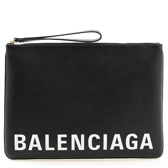 バレンシアガ BALENCIAGA ドキュメントケース ブラック CASH HANDLE POUCH L 594350 1IZCM 1090 BLACK/L WHITE