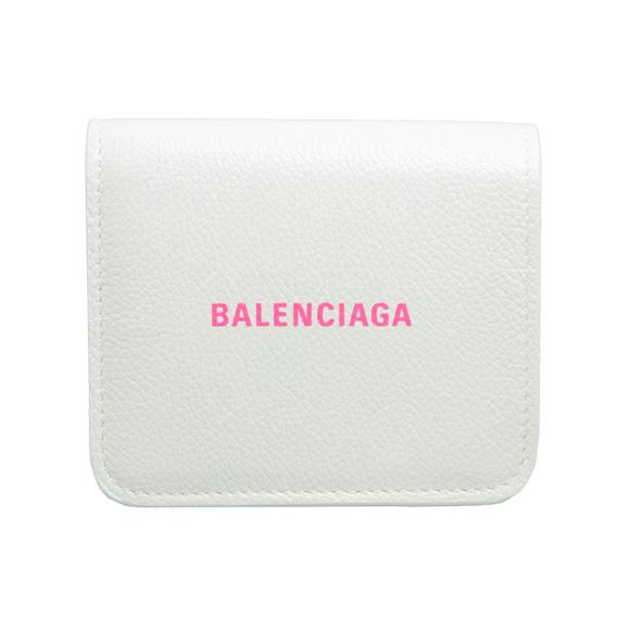 バレンシアガ BALENCIAGA 財布 レディース 二つ折り財布 ホワイト×ネオンピンク CASH FLAP COIN&CARD HOLDER 594216 1IZF3 9066 WHITE/L FLUO PINK