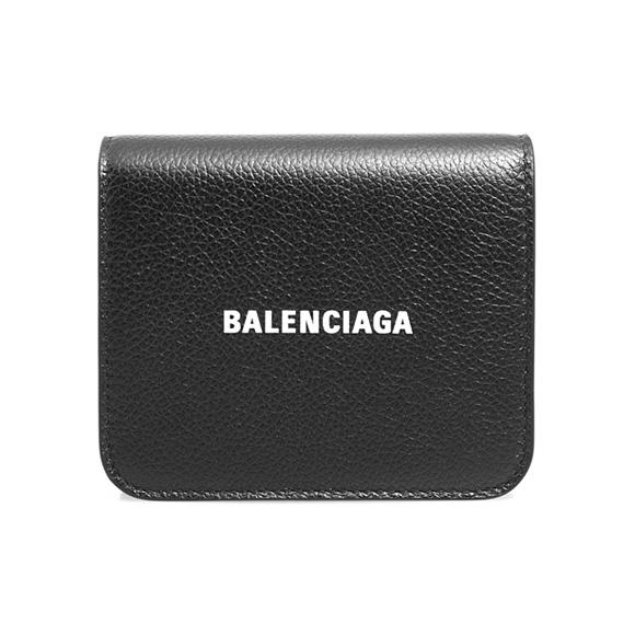 バレンシアガ BALENCIAGA 財布 三つ折り財布 ブラック CASH COMPACT WALLET 593808 1IZ4M 1090 BLACK WHITE