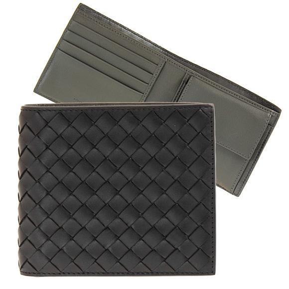 ボッテガヴェネタ BOTTEGA VENETA 財布 メンズ 二つ折り財布(小銭入れ付) ブラック/ライトグレー PORTAFOGLIO 193642 V465U 8885 NERO/LIGHT GREY