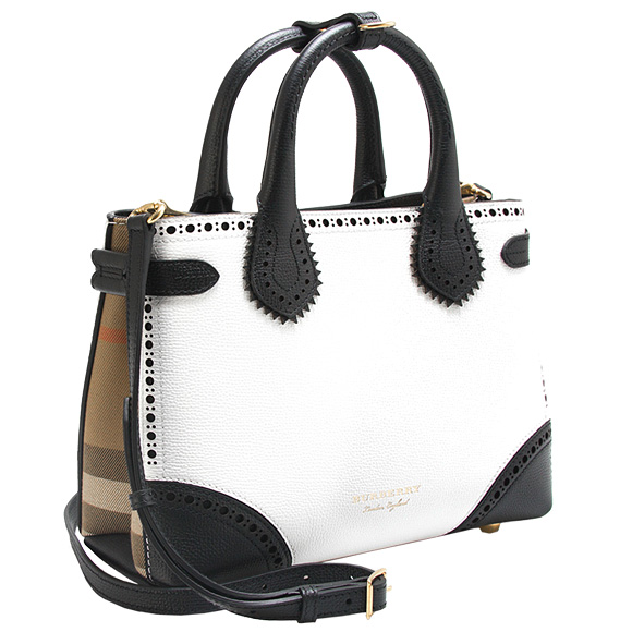 Burberry Bag Lady 2way Handbag White X Black Edge Hck Bicol Small Bunner Banner 4068514 Bt5 Achlt A11400 Chalk