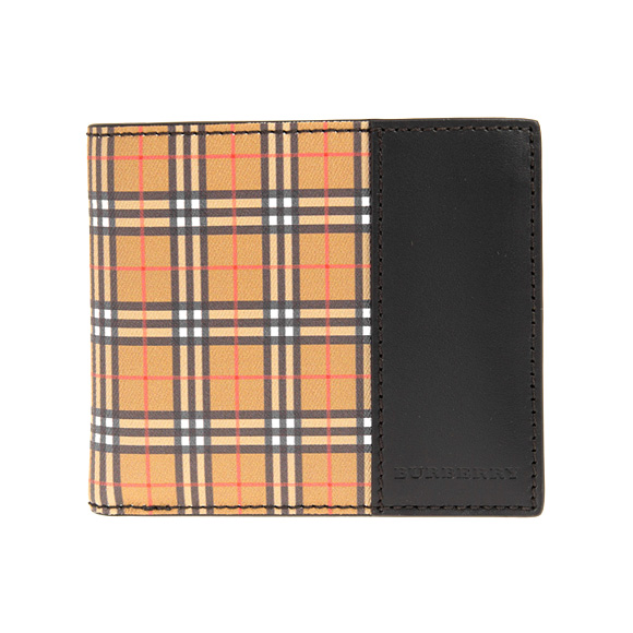 3c90b708a0bd Burberry BURBERRY wallet men folio wallet (with a coin purse) antique  yellow   black vintage check SMALL SCALE CHECK AND LEATHER CC BILL COIN  4080179 ...