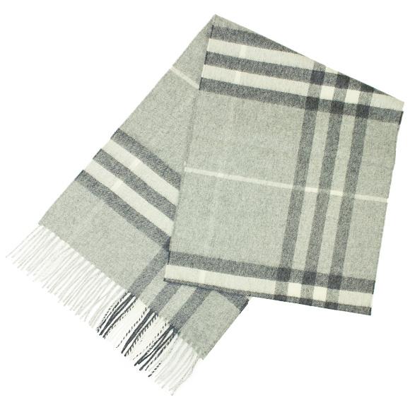 巴宝莉巴宝莉羊绒围巾淡灰色复选标记巨型图标 3994165 168: CS 0530B 淡灰色