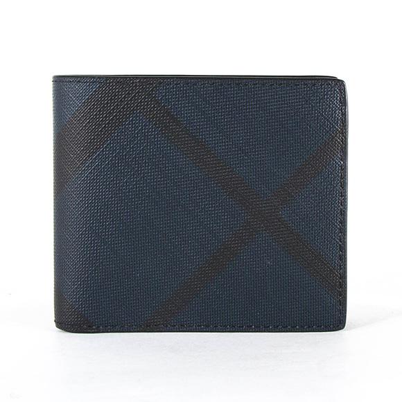バーバリー BURBERRY 財布 メンズ 二つ折り財布 ロンドンチェック/ネイビー IDBILLF 3996185 SMV:PCAL 4100B NAVY/BLACK 【英国】