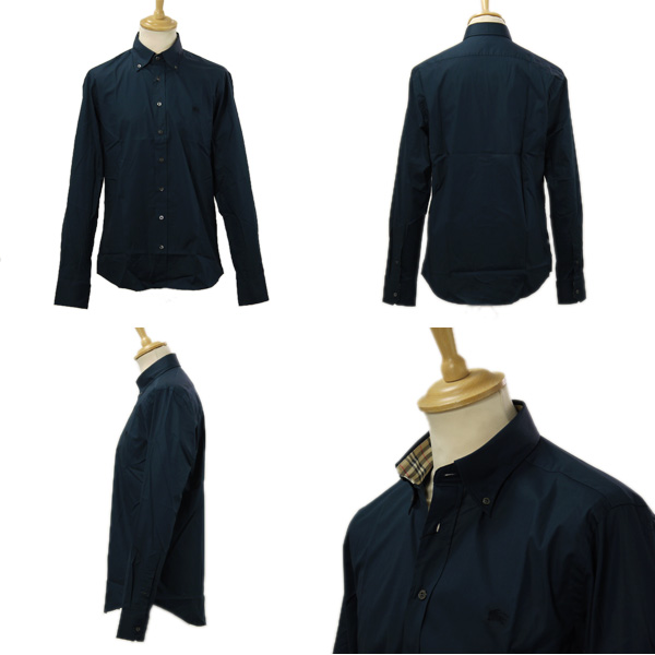 Burberry shirt WSM61364 men long sleeves button-down shirt navy 3357791 41000 NAVY BURBERRY